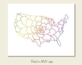 usa map art print download floral map of united states printable wall art decor large size usa poster digital print instant download pdf jpg
