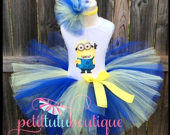Minion Costume or Birthday Tutu set sizes 12m to 10y  * FREE Headband