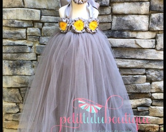 Beautiful Custom Made Flower Girl Tutu Dress Floor length Comes with free Head Piece sizes 12m to 10/12y Any Colors Available