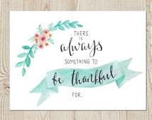 Be Thankful Floral Laurel Banner Watercolor Instant Download Printable Print