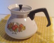 SALE - Vintage Pyrex Teapot, Spice of Life Pattern