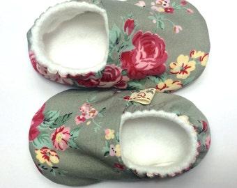 Grey floral soft sole baby shoe. Crib shoe. Pram shoe.