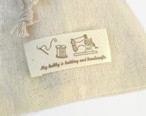 x15 Organic Cotton Printed Sewing Labels, Knitting and Handicraft, Natural Cotton Labels 53mmx22mm, REF#MNS15sew