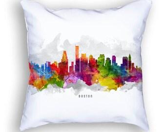 Boston Pillow, Boston Skyline, Boston Cityscape, Boston Throw Pillow, 18x18, Cushion, Home Decor, Gift Idea, USMABO13PI
