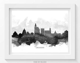 Jackson Mississippi Skyline Poster, Jackson Cityscape, Jackson Art, Jackson Decor, Home Decor, Gift Idea 11