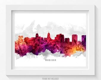 Madison Wisconsin Skyline Poster, Madison Cityscape, Madison Art, Madison Decor, Home Decor, Gift Idea 14