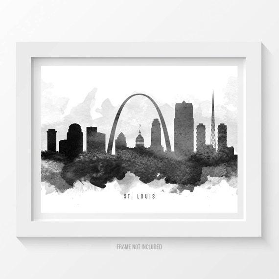 St Louis Missouri Skyline Poster St Louis Cityscape St Louis