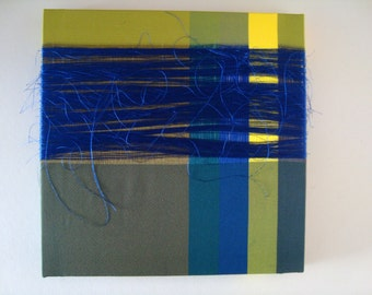 Original Textile Art work square WILD BLUE Wall art/canvas 100% Silk on canvas stretcher Woven Designed and Made in England 30cm x 30cm