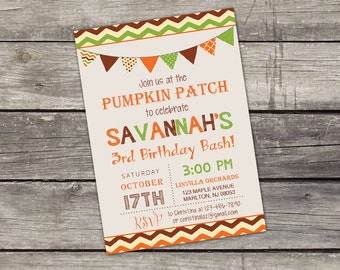 Pumpkin Patch Birthday Party Invitation - Pumpkin Kids Birthday Invitation - Fall Birthday Invitation for Kids 142
