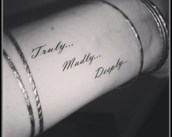 tattoo quote fake tattoos temporary tattoos tattoo quote truly madly deeply One direction tattoo
