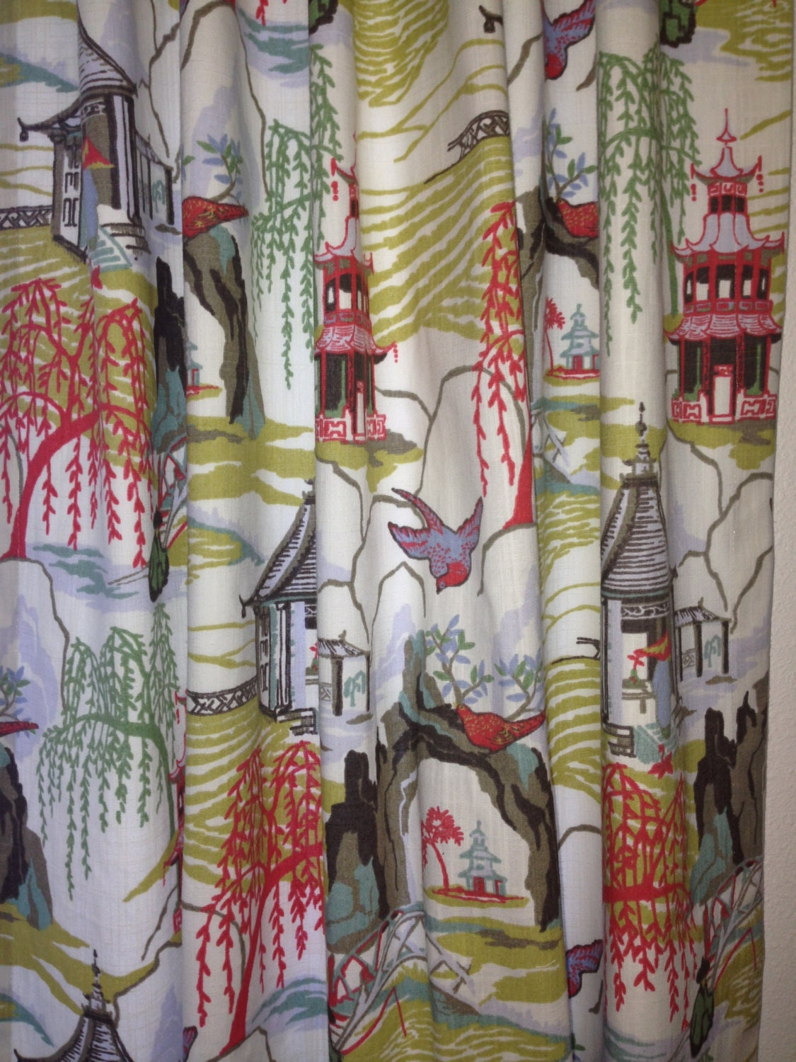 Chinoiserie Curtain Toile Curtain Asian Scenic Landscape
