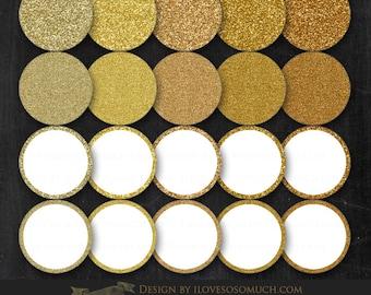 Gold Glitter Circle Frames Clip Art - Instant Download - CA007