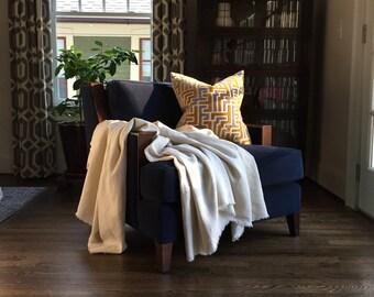 XL Magnolia Petal Linen Throw Blanket - Neutral Blanket - Cream Throw Blanket - Off White - 9' x 4.5' - Market Linen - Atlanta