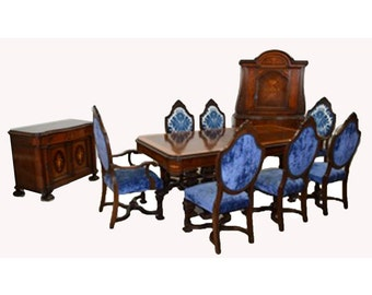 7783 European Early 20th C Inlaid Dining Suite with Carved Details
