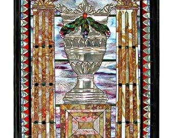 74.4911 Beautiful Ornate Jeweled & Beveled Stained Glass Window