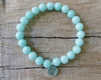 yoga jewelry, yoga bracelet , lotus bracelet, aqua mountain jade bracelet , bohemian bracelet , yoga by the sea bohemian jewelry