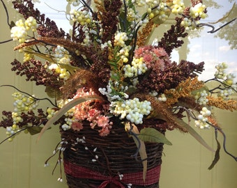 Love this Beautiful Floral Arrangement for your door or wall all in a pretty country basket !!!!