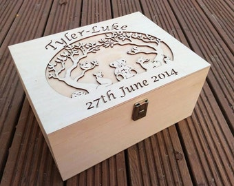 Wooden Box with hinged lid, topped with lasercut relief customised topper