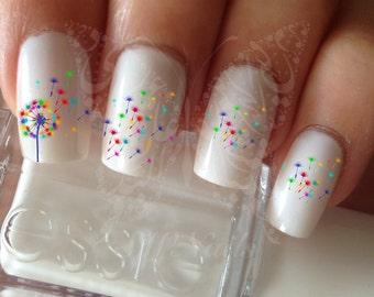 Dandelion nail art etsy nail art rainbow dandelion nail water decals transfers wraps prinsesfo Gallery