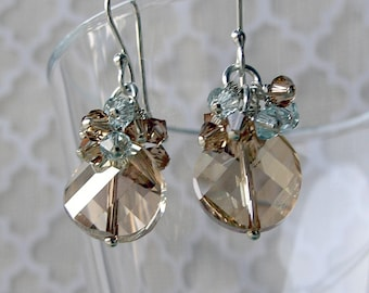 Tracey - Swarovski Crystal, Dangle Earrings, Golden Shadow, Twist Crystal, Sterling Silver Finding & Earwires