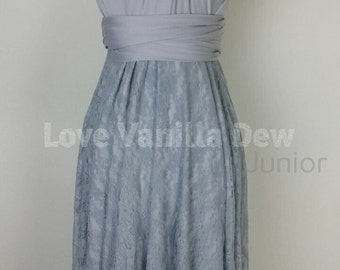 Junior Bridesmaid Dress Infinity Dress Light Grey Lace Convertible Dress Multiway Wrap Dress