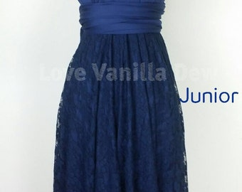 Junior Bridesmaid Dress Infinity Dress Navy Lace Convertible Dress Multiway Wrap Dress