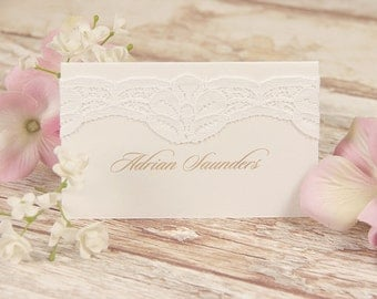 Vintage White Lace Rustic Wedding Place Card
