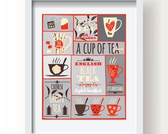Tea decor, Tea kitchen wall art, kitchen decor, tea print,tea  poster, modern poster, kitchen art, tea kitchen decor, tea decoration print
