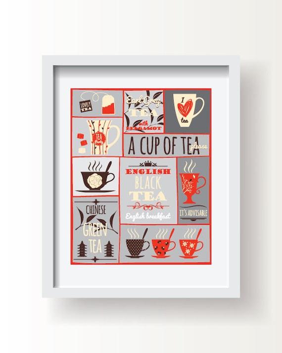 Tea Decor Tea Kitchen Wall Art Kitchen Decor Tea Printtea