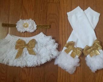SALE White and Gold Headband, Lace Bloomers, & Leg Warmers Set,birthday, baptism, christening, cake smash set, infant newborn