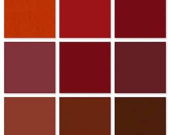 Handmade encaustic paints red starter palette - nine 30ml paint cubes
