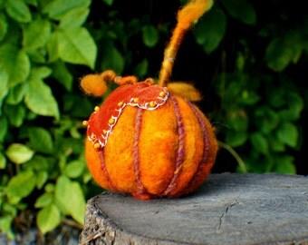 Felted Pumpkin, Wool Pumpkins, Fall Autumn Decor, Harvest Ornament, Thanksgiving, Halloween Decoration, Orange Pumpkins, Rustic Felted Food
