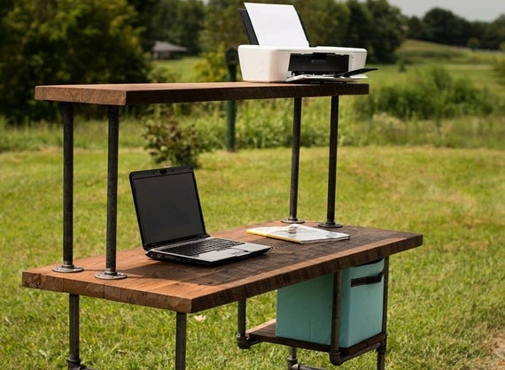 Computer Desk Reclaimed Wood Table Rustic Solid Oak By Berusticco