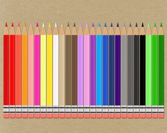 Digital Colored Pencils Clipart. Assortment of colors. Perfect for scrapbooking, Photo albums, Back to school photos Instant Download