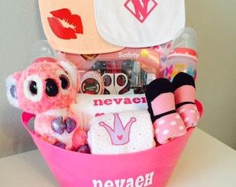 Baby Girl Baby Shower Gift Basket, Baby Gift Basket