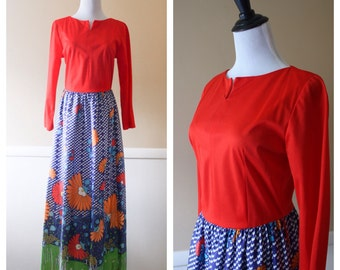1970s Red & Blue floral maxi by Lounge Craft. Medium