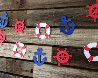 Nautical Party Garland - Nautical Decor, Nautical Baby Shower, Anchor, Life Ring, Ship Wheel Under the Sea, Photo Prop