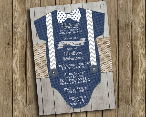 Boy Baby Shower Invitation Navy Blue Gray Bow Tie