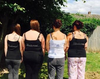 bride vest top, x3 bridesmaid tshirt, personalised top, bride tshirt, vest top , tank top , bridal set , x3 bridesmaid set , tshirt set