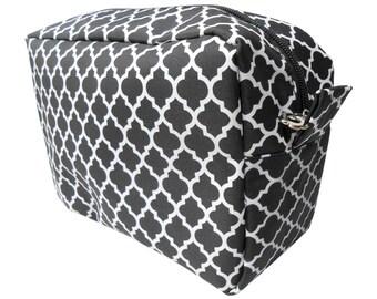 BLACK - Quatrefoil Cosmetic Bag - FREE Monogram!!