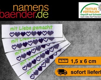 5 finished 'made with love' labels in white / green / purple 1.5 x 6 cm
