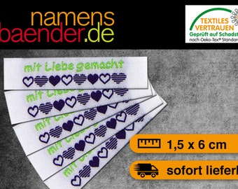20 finished 'made with love' labels in white / green / purple 1.5 x 6 cm