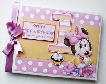 Baby Minnie First Birthday Guest Book Personalised Memory Book '1st Birthday' - any design