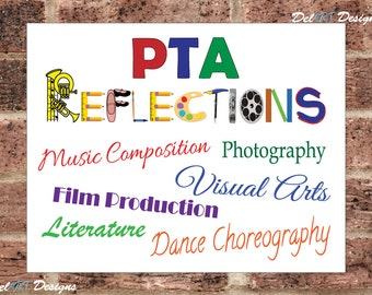 PTA Reflections, Poster, Sign, Flyer, Reflections Categories, Digital file, Ready to print PDF