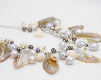 handcrafted freshwater pearl and shell necklace