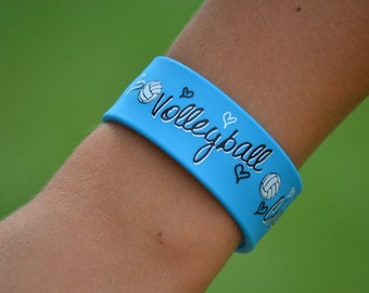 Girls Volleyball Team Gift - Volleyball Bracelet - Blue Slap Band w/Ruler - Volleyball Mom - Volleyball Jewelry - Volleyball Gifts