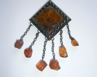 Vintage 1960's Baltic Amber Brooch
