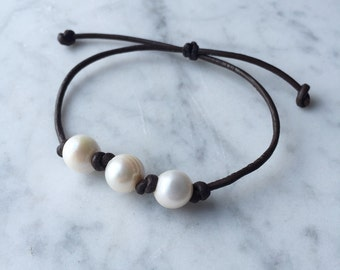 Freshwater Three Pearl and Leather Bracelet, Pearl Bracelet, Pearl and Leather Bracelet