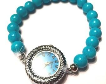Turquoise bracelet, beaded, quartz watch