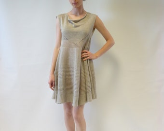 Delicate natural linen transparent short dress, M size. Handmade, very feminine look. Only one sample.